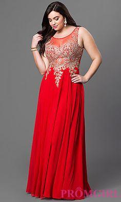 Illusion Top Floor Length Plus Dress at PromGirl.com
