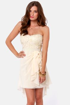 short, floral, sweet, cream prom dress