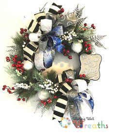 Let it Snow Grapevine Wreath/ Christmas Décor Door Hanger/ Elegant Winter Red Berries Wreath/ Deco Mesh Ribbon/ Holiday Mantel Decoration
