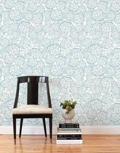 Cover an accent wall in your favorite blue wallpaper.