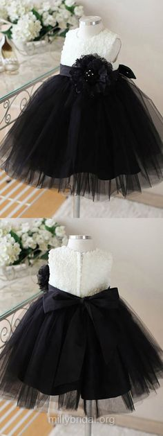 Black Flower Girl Dresses Ankle-length, Tulle Junior Bridesmaid Dresses Cute, Tutu Flower Girl Dresses Scoop Neck