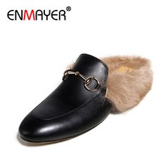 Find More Slippers Information about ENMAYER Women's Lovely Indoor Furry Flats Size 34 40 Spring&Autumn Outside Slippers Genuine Leather Shoes Woman Shearling Fur,High Quality fur winter boots women,China fur trim Suppliers, Cheap shoe usb flash drive from ENMAYER on Aliexpress.com