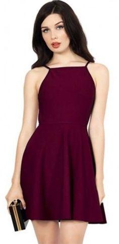 Wine Halter Dress
