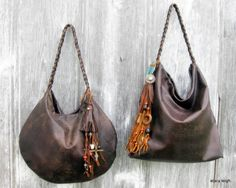 Distressed Brown Leather Bags