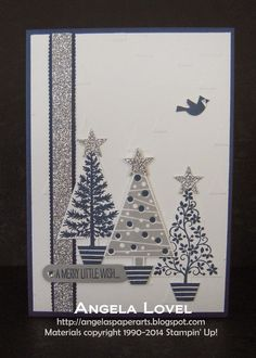 This card features the Stampin' Up! Festival of Trees stamp set and Tree punch… Homemade Christmas Cards, Christmas Cards To Make, Xmas Cards, Homemade Cards, Handmade Christmas, Holiday Cards, Christmas Crafts, Blue Christmas, Christmas Ideas