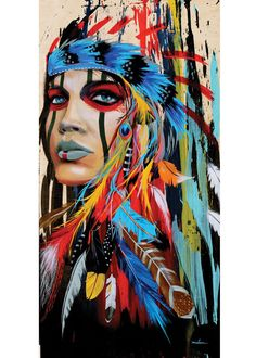 Portrait canvas art wall pictures for living room - Indian woman feathered pride painting - .- Portrait canvas art wall pictures for living room – Indian woman feathered pride painting – home decor, Native American Girls, American Indian Art, American Modern, Arte Pop, Street Art, Native American Paintings, Framed Canvas Prints, Native Art, Native Indian
