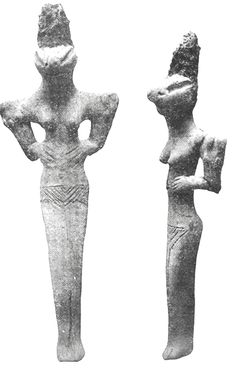 These figures were uncovered in Ur, in southern Iraq, and date from around 4500 BCE. According to Gordon Childe, they came from prehistoric villages of the Ubaid culture that was named after a site near Ur explored in 1922. Childe said they reappeared in northern Mesopotamia, where they were found at many sites from the Kurdish foothills in Assyria east of the Tigris River to the bend of the Euphrates near Carchemish, and even further west.13