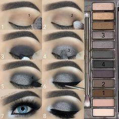 maquillage smoky eyes fete yeux bleus fards gris argent makeup augen hochzeit ideas tips makeup Grey Smokey Eye, Smoky Eye Makeup, Eye Makeup Steps, Skin Makeup, Makeup Eyeshadow, Blue Eyeshadow, Smoky Eye For Blue Eyes, How To Smokey Eye, Smokey Eye Steps