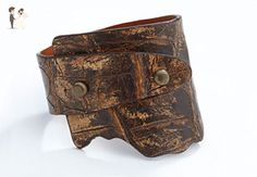 Genuine Crocodile Wide-Wrap Luxury Bracelet in Bark (Brown) - Exotic Leather - Wedding bracelets (*Amazon Partner-Link)
