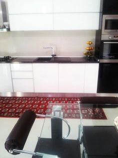 Rug is in place! Decor, Kitchen Cabinets, Cabinet, Places, Wall, Home Decor, Kitchen, Rugs