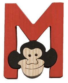 Montessori wooden puzzle letter M(onkey), made by hand of maple wood,no harmful colors and no lacquer