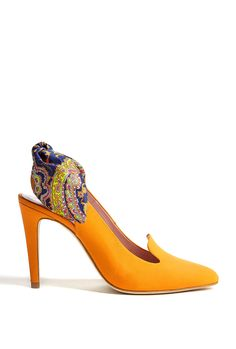 Printed Bow Back Leather Slingback Heels by Carven