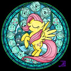 Stained Glass: Fluttershy -better- by *Akili-Amethyst on deviantART