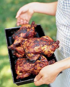 Chickens are juicier when barbecued whole instead of cut up.