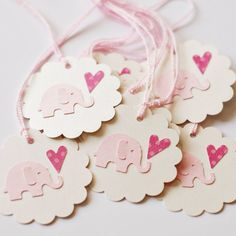 Tags - Baby Shower - Elephant - Love - Heart - Girl (set of 10)