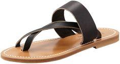 K. Jacques Nehru Crisscross Toe Ring Flat Sandal, Black on shopstyle.com