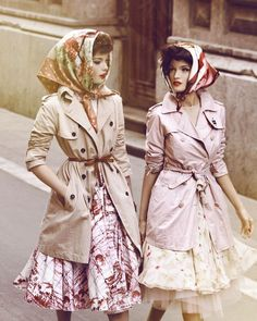 Photographed by Signe Vilstrup for Vanity Fair.  #fashion #trench_coats #scarves #skirts