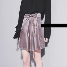 YNZZU New Arrivals Women Skirts Autumn Winter Drawstring Solid Chic Velvet Skirts Streetwear Women's Bottoms Drop Shipping YB040
