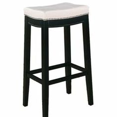 """Refresh your kitchen or dining room with this hardwood barstool, featuring handsome nailhead trim and an upholstered, foam-cushioned seat.   Product:  BarstoolConstruction Material: Hardwood, plywood, faux leather and foamColor: WhiteFeatures: Nailhead trimDimensions: 32"""" H x 18.75"""" W x 13.25"""" D"""