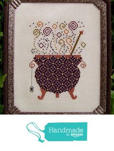 """Halloween Cross Stitch Chart """"Witch's Brew"""" Couldron, X Stitch, Counted Embroidery (Printed Pattern Only) DIY Home Decor from Turquoise Graphics & Designs https://www.amazon.com/dp/B01N4NQZSL/ref=hnd_sw_r_pi_dp_63qGybF1GRRZS #handmadeatamazon"""