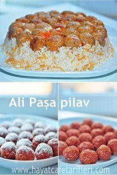 Turkish sofra (cuisine): Ali Paşa pilav/rice (Turkish rice with meatballs) Köfteli Pilav - Hayat Cafe Kolay Yemek Tarifleri Iftar, Good Food, Yummy Food, Tasty, Turkish Rice, Seafood Recipes, Cooking Recipes, Easy Recipes, Rice Recipes