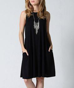 Look at this #zulilyfind! Black Side-Pocket Shift Dress #zulilyfinds