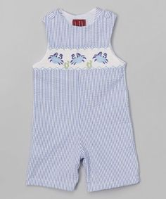 2de3a8c96b423 Another great find on  zulily! Blue Stripe Smocked Crab Shortalls - Infant   amp
