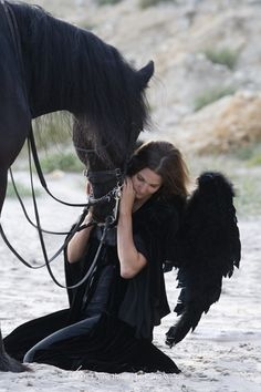 """fallen angel"" with Friesian gelding, in Ojai, CA, by Carol Walker"