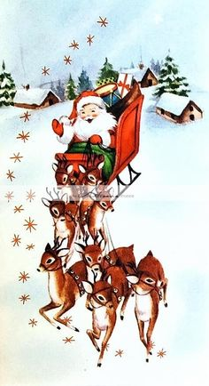 Vintage Christmas Card Santa Claus Sleigh Reindeer Present Snow Star House Town Christmas Scenes, Noel Christmas, Retro Christmas, Christmas Greetings, Father Christmas, Reindeer Christmas, Santa And Reindeer, Vintage Christmas Images, Vintage Holiday