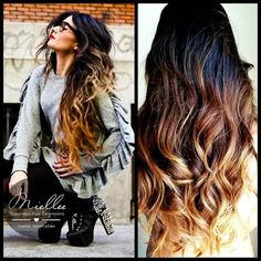 Tape In Hair Extensions / SUNRISE OMBRE / Natural Human Hair / Natural Straight Texture / Full 40 Piece Tape In Set