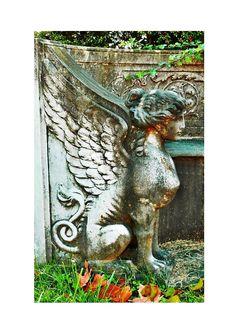 victorian cemetary sculptures | ... Art, Metamorphosis, Dark Art Griffin Print, Virginia Cemetery Art, 5x7