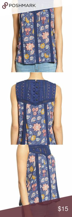 NWOT LUCKY BRAND FLORAL TOP NWOT Lucky Brand Floral Top  Crochet Design  Size- Large  Nwot Lucky Brand Tops Blouses