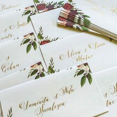 and the result of calligraphy envelopes with golden ink. Calligraphy Ink, Calligraphy Envelope, Watercolor Invitations, Floral Invitation, Unique Invitations, Wedding Invitations, Addressing Envelopes, Wedding Place Cards, Name Cards