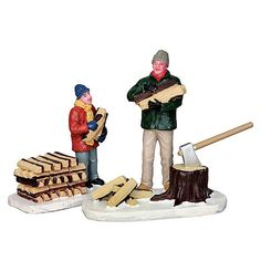Lemax Village Collection Christmas Village Figurine  Stacking Firewood  Set Of 2