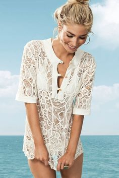 746b5321c7 The L Space Lucca Tunic in Cream is a sexy and fun cover up. Made of a  nylon blend