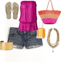 Bright Pink and Gold Casual Look, created by shawnaj on Polyvore