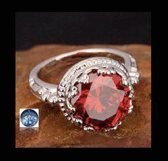 Sz 7, Fabulous RED GARNET QUARTZ Round  12mm Diameter Crystal gemstone, 14k Gold-Filled Regency Style Ring! by AmeogemJewellery on Etsy