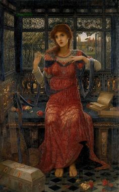 """John Melhuish Strudwick (6 May 1849 - 16 July 1937),  """"Oh Swallow, Swallow"""", Oil on canvas, 1894."""