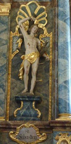 Anonyme, 17th century, Skulptur des Hl. Sebastian, Katholische Pfarrkirche Mariä Himmelfahrt in Hochaltingen, Landkreis Donau-Ries, Bayern, Duitsland