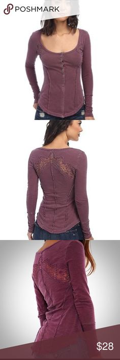 Free People Keepsake Crochet Long Sleeve Only worn once or twice- fits narrow in bodice so could fit a small or medium depending on personal choice- cleaning out closet- no trades- open to offers- color appears to vary from lighting but first two photos are pretty accurate Free People Tops Tees - Long Sleeve