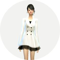 Winter coat with skirt at Marigold via Sims 4 Updates