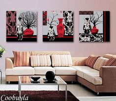 decorative painting folk art on sale at reasonable prices, buy 3 Pieces Top Quality Modern Wall Abstract Art Oil Painting Still Life Abstract Tree Canvas Prints Cool HOME OFFICE HOTEL DECOR from mobile site on Aliexpress Now! 3 Piece Canvas Art, 3 Piece Art, Canvas Prints, Tree Canvas, Canvas Home, Living Room Prints, Living Room Designs, Modern Prints, Modern Wall