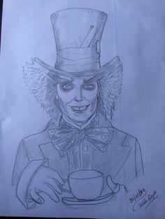 Dibujo a lápiz del jhony deep como el sombrerero