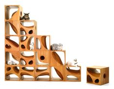 Stackable Furniture for Cats Who Love Great Design - CATable features wooden cubes with different nooks and crannies for cats to explore
