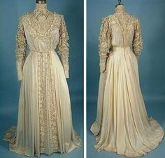 Wedding dress made of silk, decorated with embroidery, 1909-1910