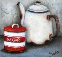 Art by Stella Bruwer white enamel coffee pot red and white stripe sugar tin Painting Still Life, Still Life Art, Tole Painting, Painting Tips, Stella Art, Coffee Cup Art, South African Artists, Country Paintings, Wildlife Art