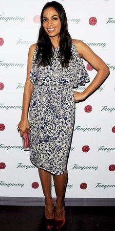Rosario Dawson wore a kaleidoscope print dress