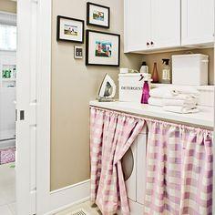 cute inexpensive laundry room idea