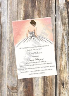 Beautiful Brunette Bride Invitation / Bridal by RoostPaperie, $13.00