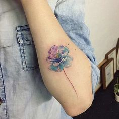 Blue Cherry Blossom Watercolor Tattoo Concept:.... >>> Find out even more by checking out the picture